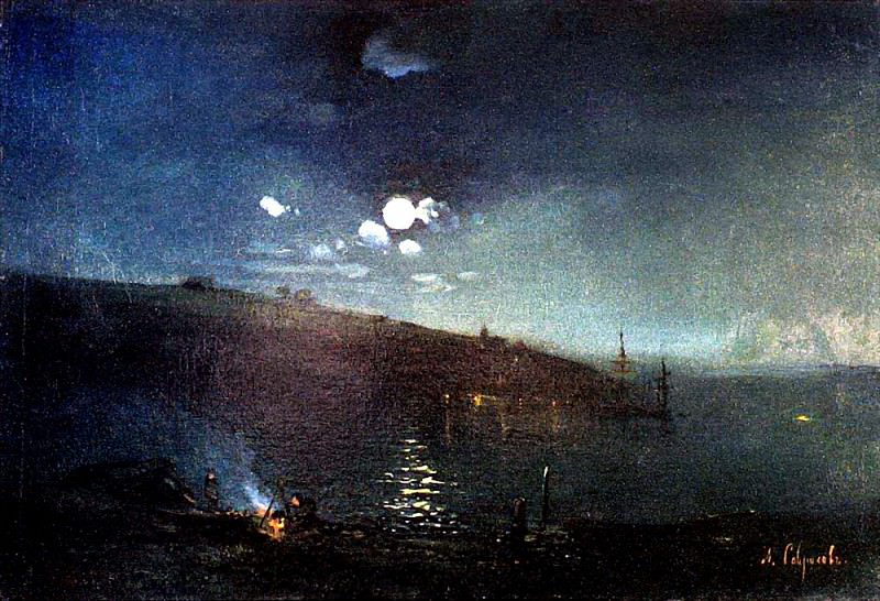 Moonlit Night. Landscape with fire. 1880-1890-e. Alexey Kondratievich Savrasov