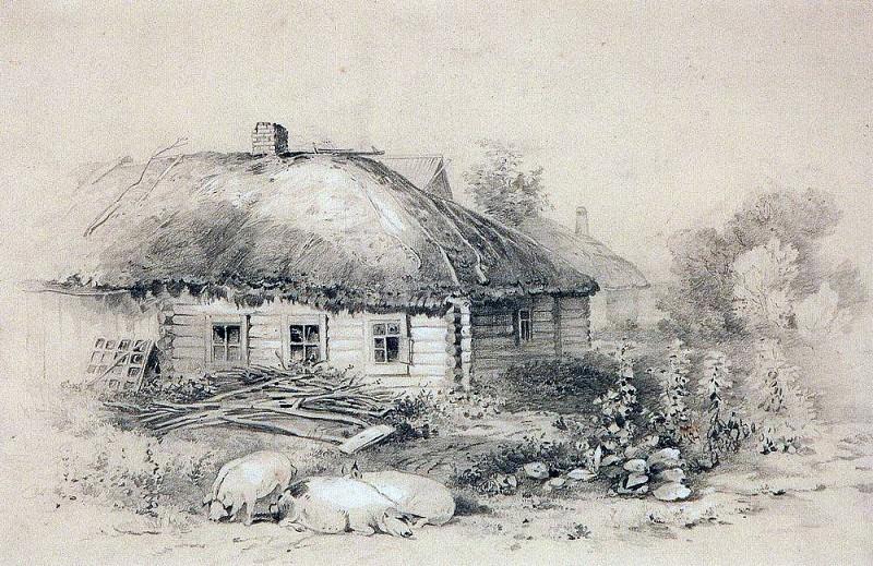 Landscape with hut. 1860. Alexey Kondratievich Savrasov