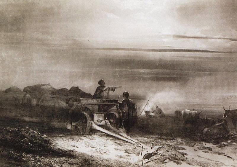 Halt baggage Chumakov steppe 1. 1867. Alexey Kondratievich Savrasov