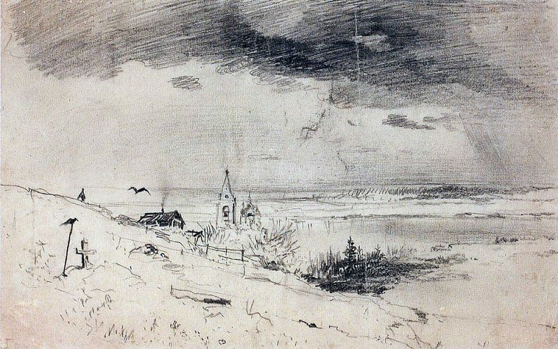 old graveyard on the banks of the Volga. 1874. Alexey Kondratievich Savrasov