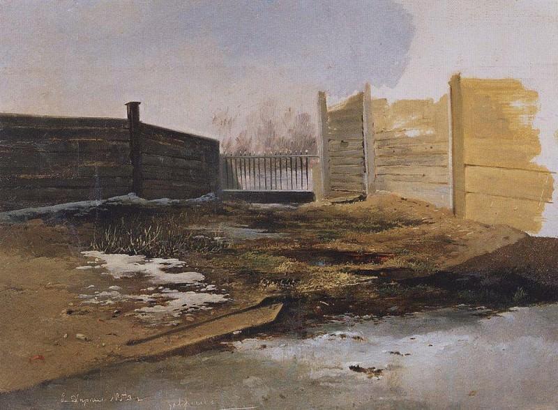 Дворик. Весна. 1853. Алексей Кондратьевич Саврасов