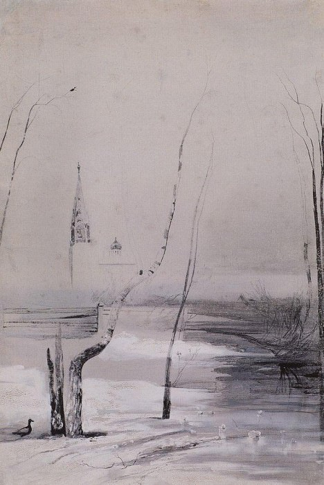 Landscape with a church and bell tower. Beginning 1870. Alexey Kondratievich Savrasov