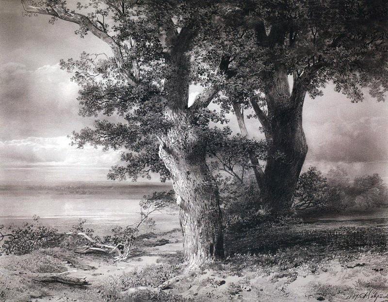 oaks on the shore. 1867. Alexey Kondratievich Savrasov