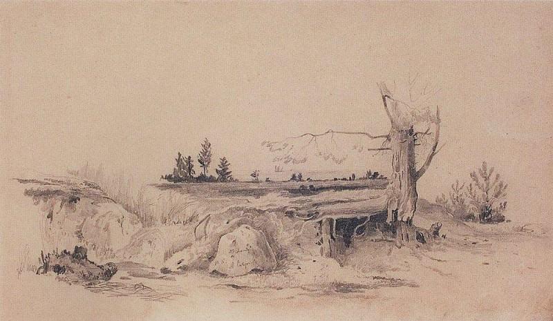 Gulf of Finland. Landscape dugout. 1854. Alexey Kondratievich Savrasov