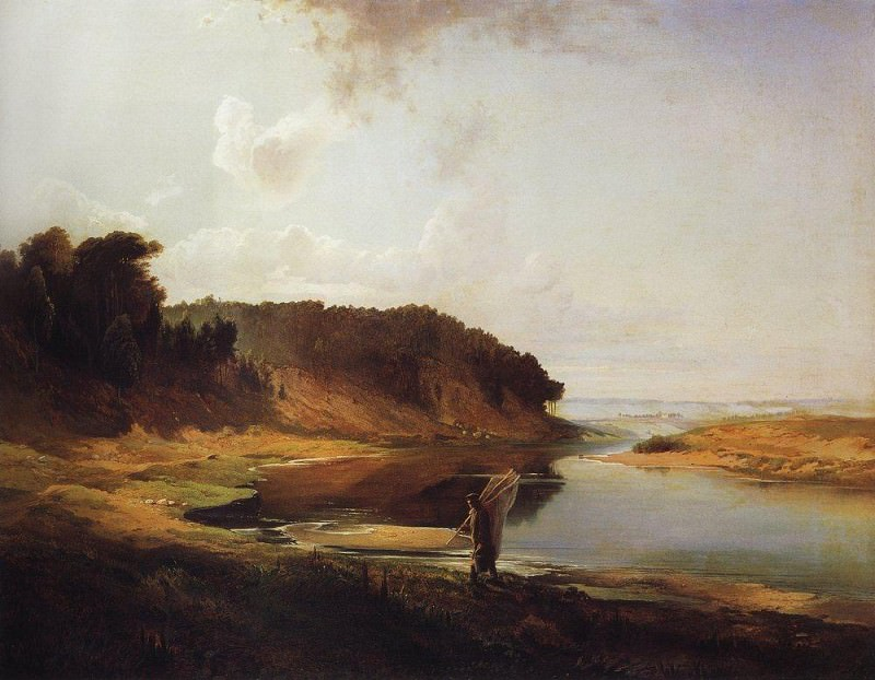 Landscape with a river and a fisherman. 1859. Alexey Kondratievich Savrasov