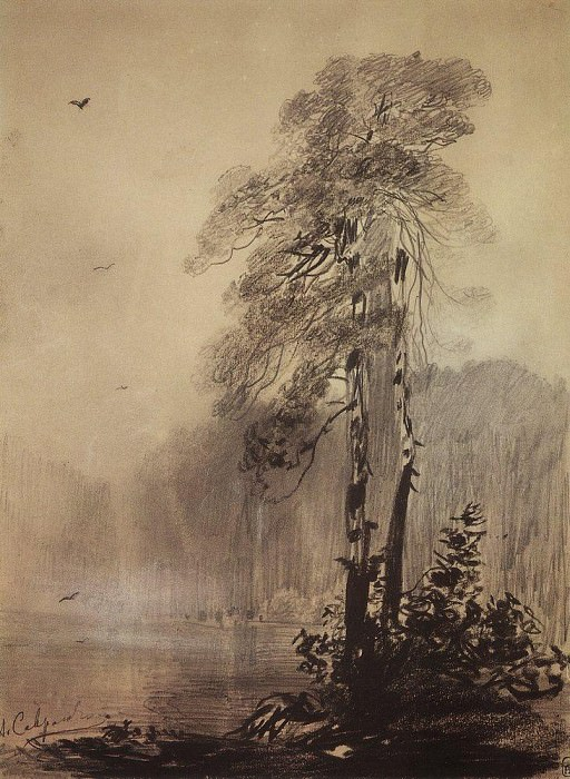 pines on the shore of the lake. 1880-1890-e. Alexey Kondratievich Savrasov