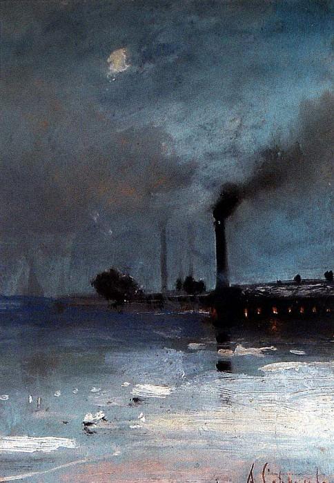 ice. Landscape with the factory. 1880-1890-e. Alexey Kondratievich Savrasov