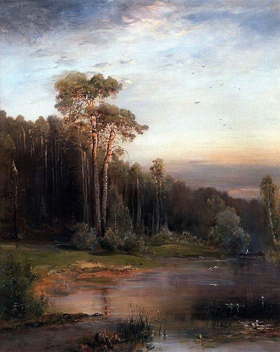 Summer landscape with pine trees near a river. 1878. Alexey Kondratievich Savrasov