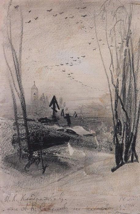 In the cemetery. 1884. Alexey Kondratievich Savrasov