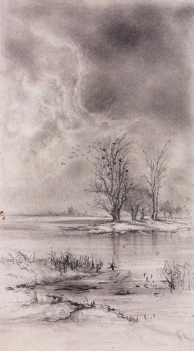 Весенний пейзаж. Ростепель. 188-1890-е. Алексей Кондратьевич Саврасов