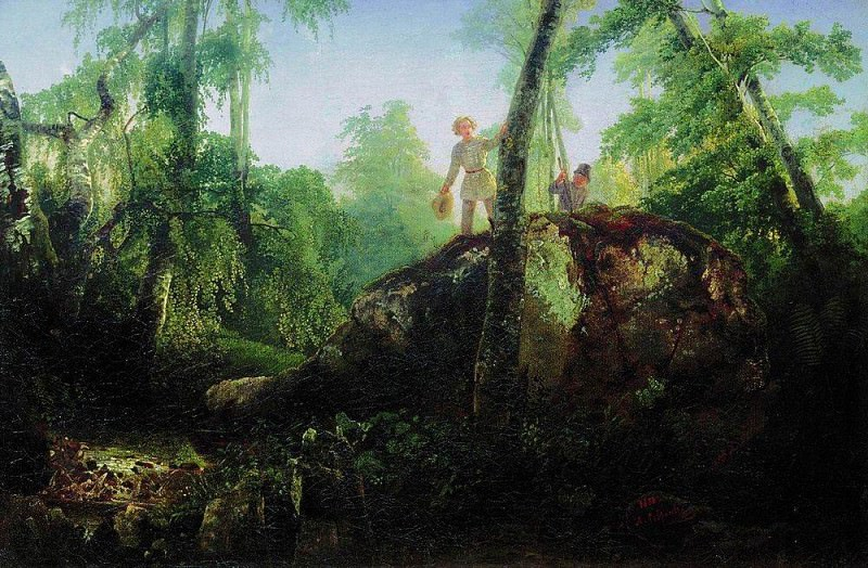 stone in the forest near the spill. Type in the estate ID Luzhin near the station Mary of Blachernae. 1850. Alexey Kondratievich Savrasov