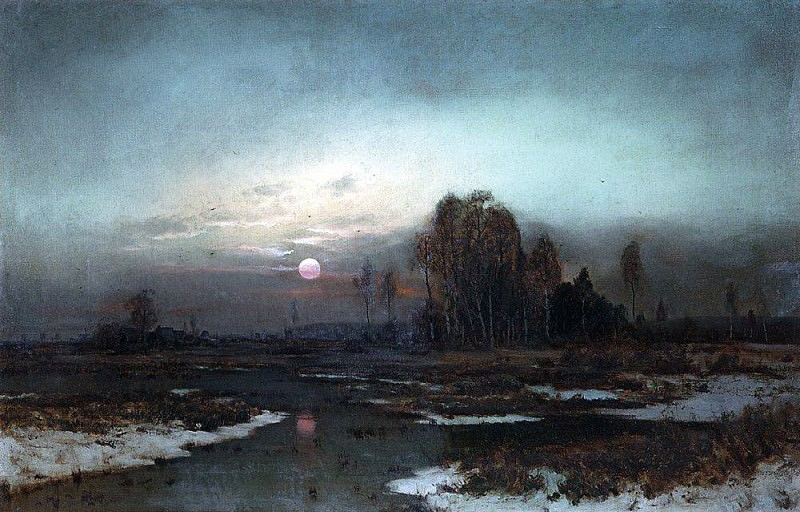 Autumn landscape with marshy river by moonlight. 1871. Alexey Kondratievich Savrasov