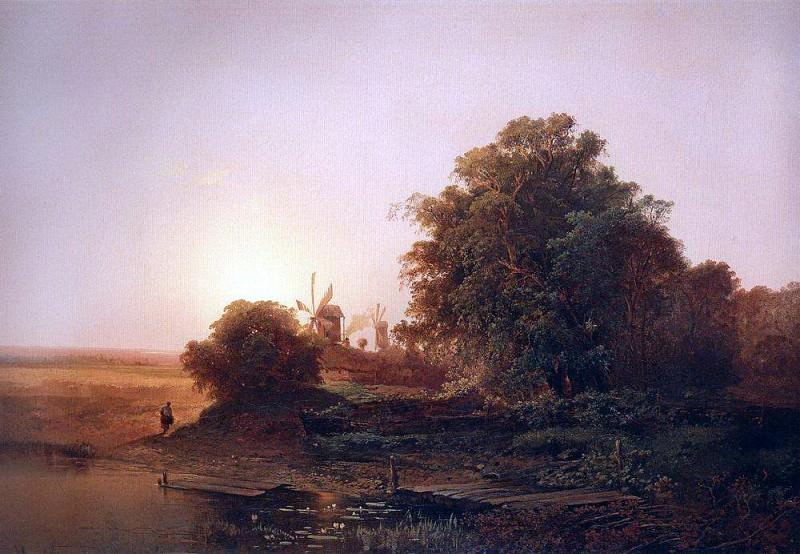 Летний пейзаж с мельницами. 1859. Алексей Кондратьевич Саврасов