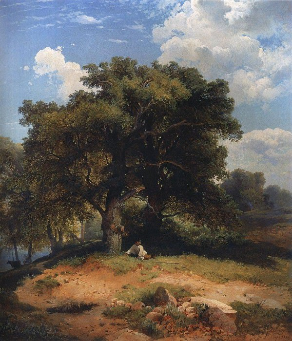 Landscape with oak trees and a shepherd. 1860. Alexey Kondratievich Savrasov
