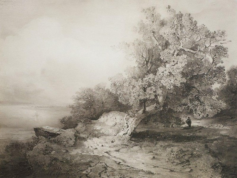 old oak tree near the cliff above the River. 1857. Alexey Kondratievich Savrasov