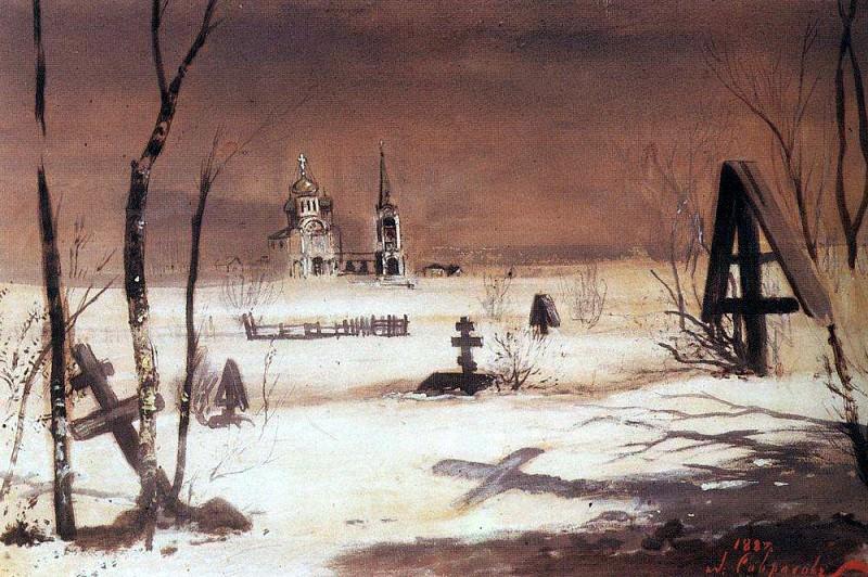Сельское кладбище в лунную ночь. 1887. Алексей Кондратьевич Саврасов