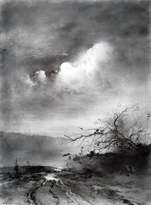 Moonlit Night on the River. 1885. Alexey Kondratievich Savrasov