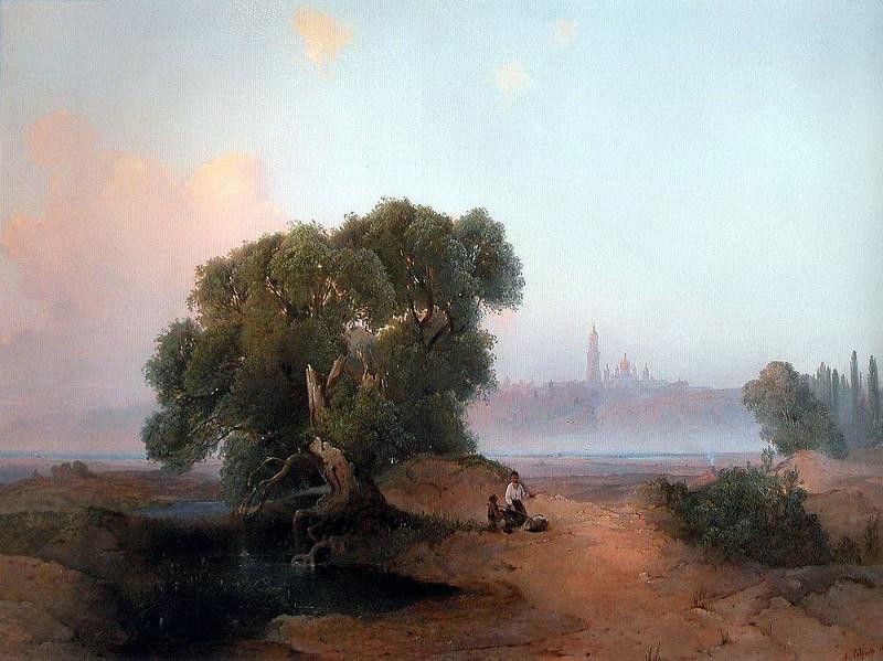 Вид Киева с Днепра на Печерскую лавру. 1852. Алексей Кондратьевич Саврасов