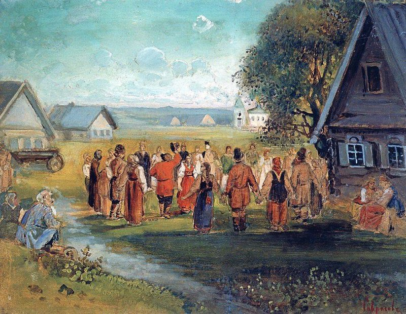Round Dance in the village. 1873-1874. Alexey Kondratievich Savrasov