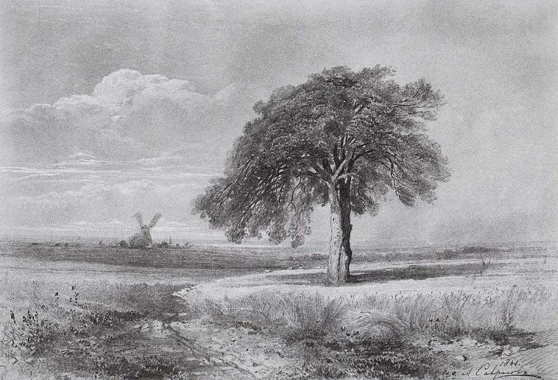 Пейзаж с мельницей. 1861. Алексей Кондратьевич Саврасов