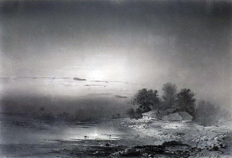 Лунная ночь. 1853. Алексей Кондратьевич Саврасов