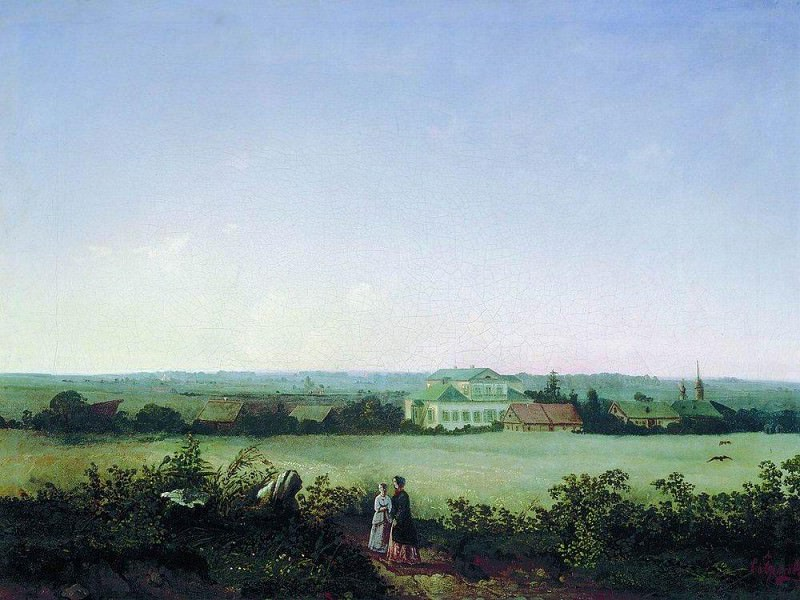 view around Moscow with the manor and two female figures (named after D. Luzhin near the station Mary of Blachernae). 1850. Alexey Kondratievich Savrasov