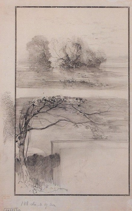 Trees near the water. The branches of trees. 1870. Alexey Kondratievich Savrasov