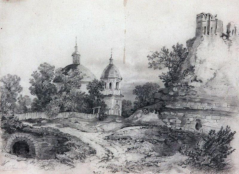 Пейзаж с церковью и руинами. 1861. Алексей Кондратьевич Саврасов