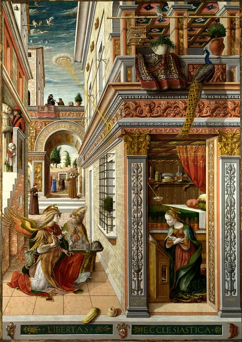 Carlo Crivelli - The Annunciation, with Saint Emidius. Part 1 National Gallery UK