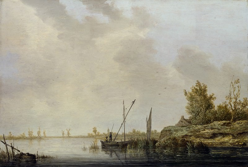 Aelbert Cuyp - A River Scene with Distant Windmills. Part 1 National Gallery UK