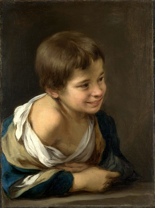 Bartolome Esteban Murillo - A Peasant Boy leaning on a Sill. Part 1 National Gallery UK