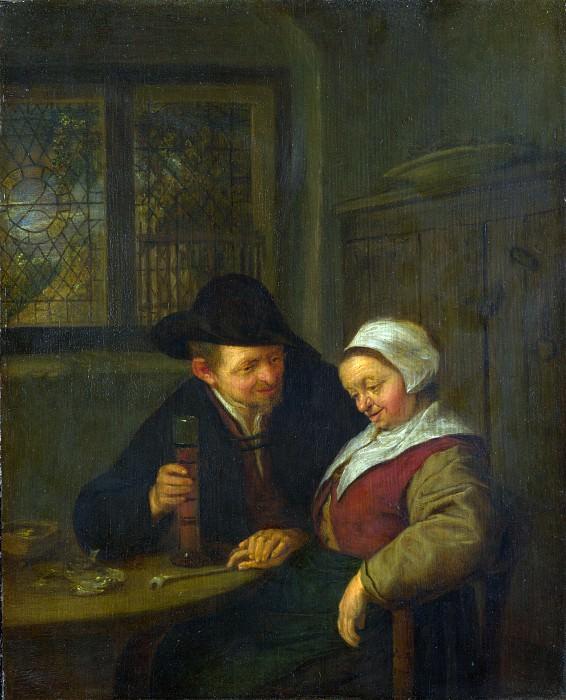 Adriaen van Ostade - A Peasant courting an Elderly Woman. Part 1 National Gallery UK