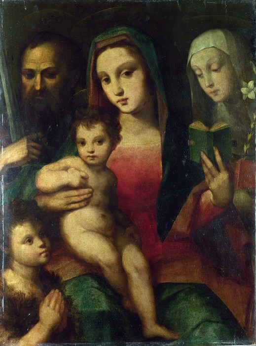 Andrea and Raffaello del Brescianino - The Madonna and Child with Saints. Part 1 National Gallery UK