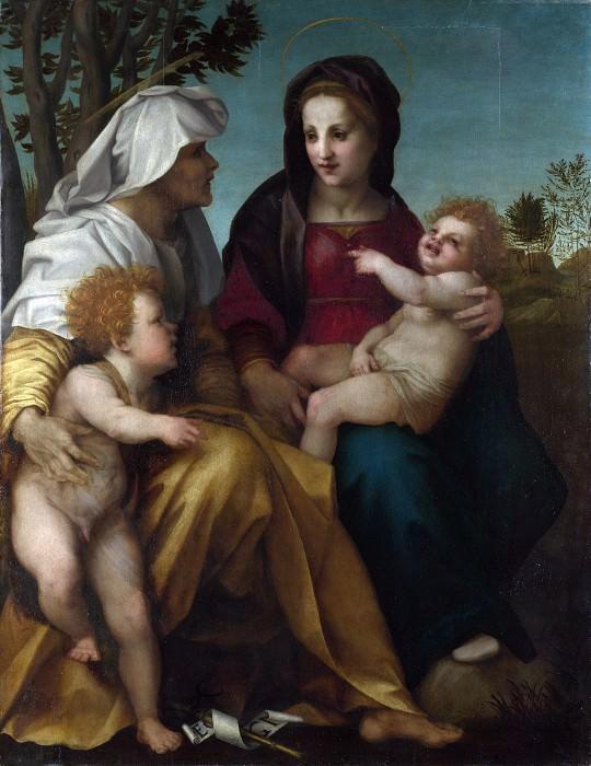 Андреа дель Сарто - Мадонна с Младенцем и святые Елизавета и Иоанн Креститель. Часть 1 Национальная галерея