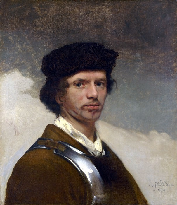 Carel Fabritius - Young Man in a Fur Cap. Part 1 National Gallery UK