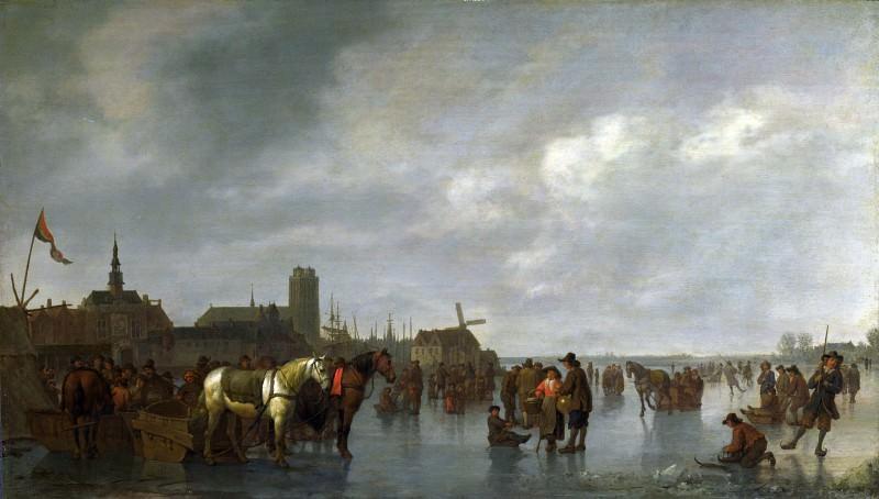 Abraham van Calraet - Scene on the Ice outside Dordrecht. Part 1 National Gallery UK