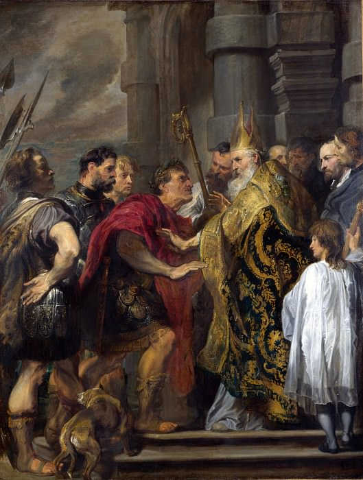 Anthony van Dyck - St Ambrose barring Theodosius from Milan Cathedral. Part 1 National Gallery UK