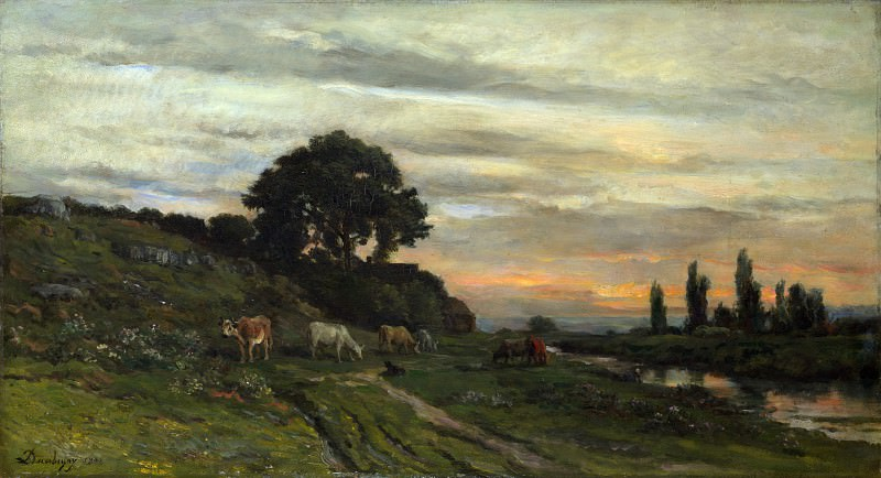 Charles-Francois Daubigny - Landscape with Cattle by a Stream. Part 1 National Gallery UK