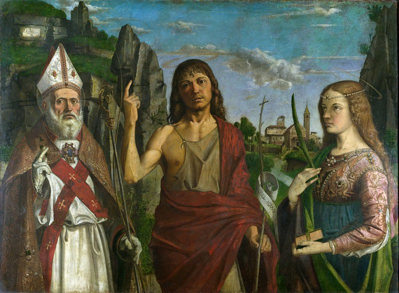 Bartolomeo Montagna - Saint Zeno, Saint John the Baptist and a Female Martyr. Part 1 National Gallery UK