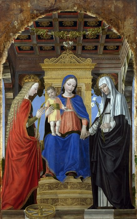 Ambrogio Bergognone - The Virgin and Child with Saints. Part 1 National Gallery UK