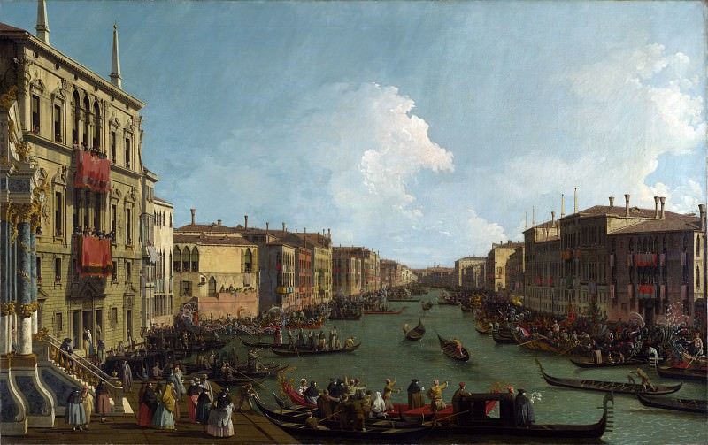 Canaletto - Venice - A Regatta on the Grand Canal. Part 1 National Gallery UK