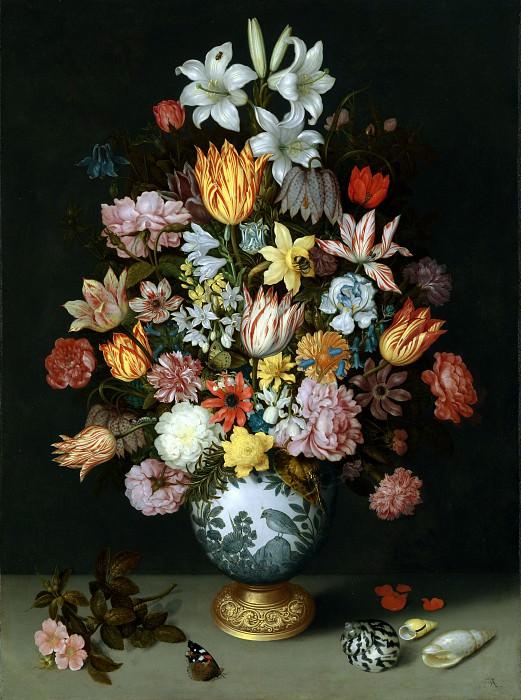 Ambrosius Bosschaert the Elder - A Still Life of Flowers in a Wan-Li Vase. Part 1 National Gallery UK