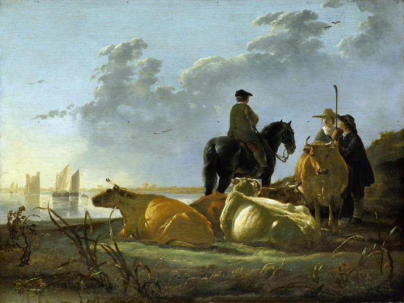 Aelbert Cuyp - Peasants and Cattle by the River Merwede. Part 1 National Gallery UK
