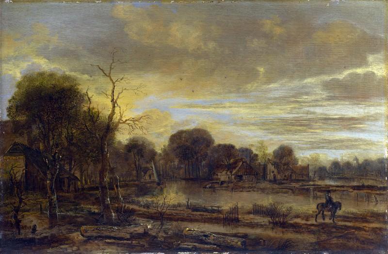 Арт ван дер Нер - Речной пейзаж с деревней. Часть 1 Национальная галерея