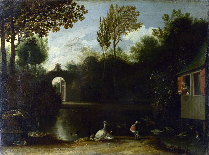 Anthonie van Borssum - A Garden Scene with Waterfowl. Part 1 National Gallery UK