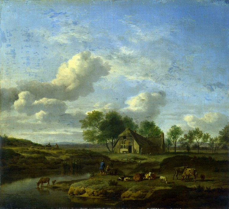 Adriaen van de Velde - A Landscape with a Farm by a Stream. Part 1 National Gallery UK