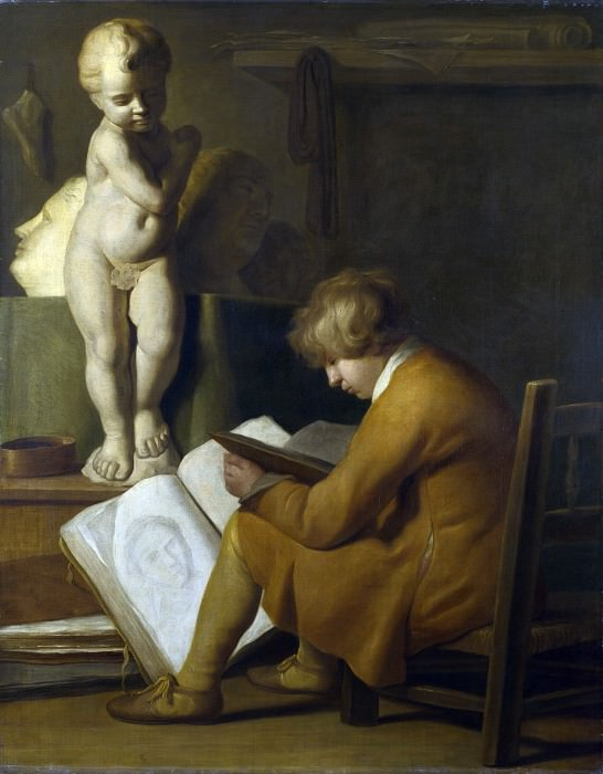 After Wallerant Vaillant - A Boy seated Drawing. Part 1 National Gallery UK