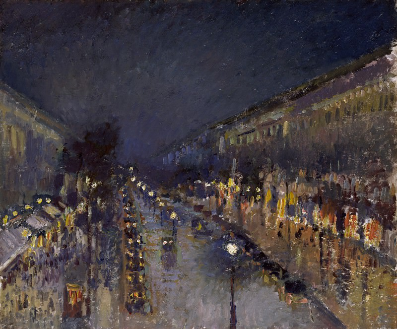 Камиль Писсарро - Бульвар Монмартр ночью. Часть 1 Национальная галерея