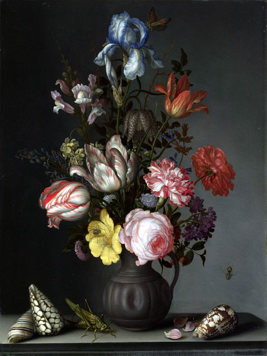 Balthasar van der Ast - Flowers in a Vase with Shells and Insects. Part 1 National Gallery UK