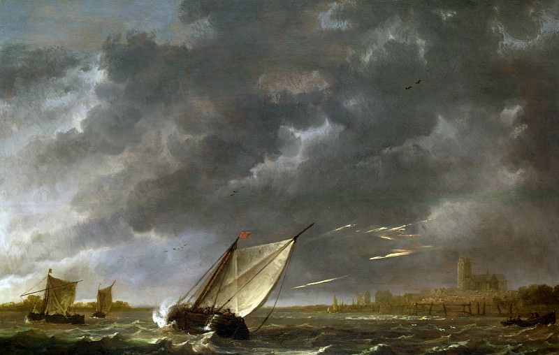 Aelbert Cuyp - The Maas at Dordrecht in a Storm. Part 1 National Gallery UK